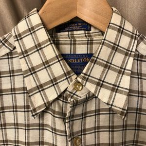 Pendleton Linen Button Down Short Sleeve Shirt EUC